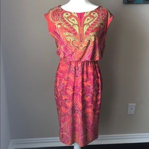 Peter Nygard Dress Paisley Orange Pink